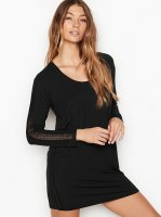 Heavenly Victoria Supersoft Modal Long-sleeve Sleepshirt Black
